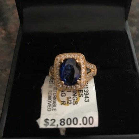 EFFY SAPPHIRE GOLD DIAMOND RING